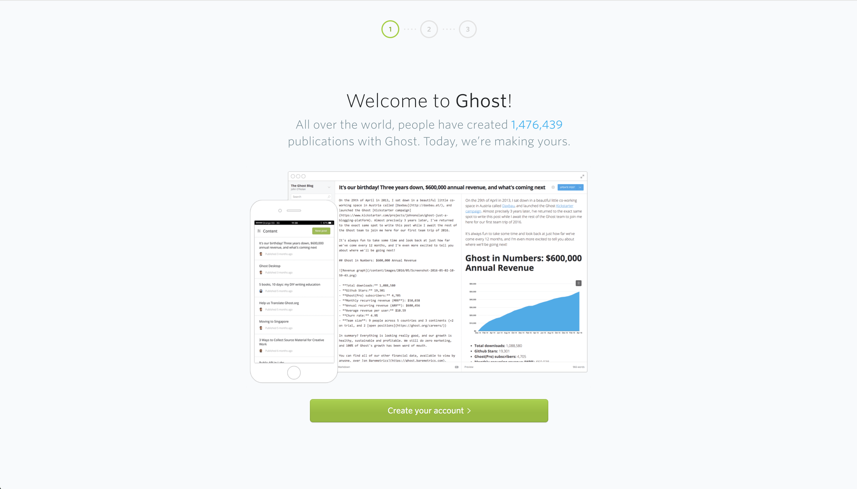 Creating Ghost subscription account.