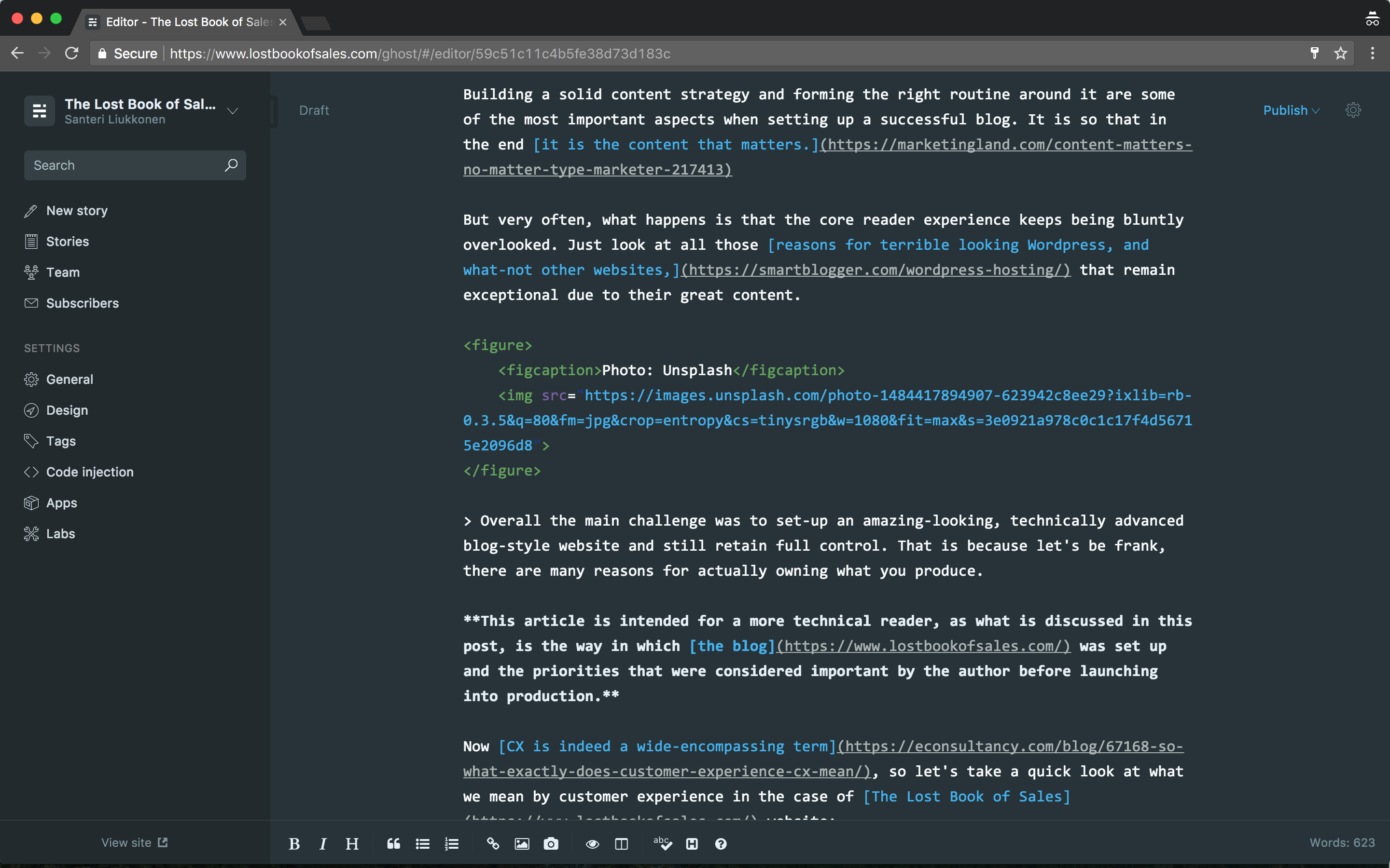 Ghost editor with markdown admin panel.