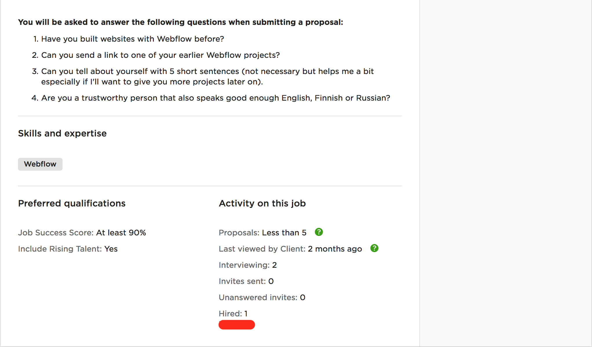 Job Post Screenshot 2 - Upwork