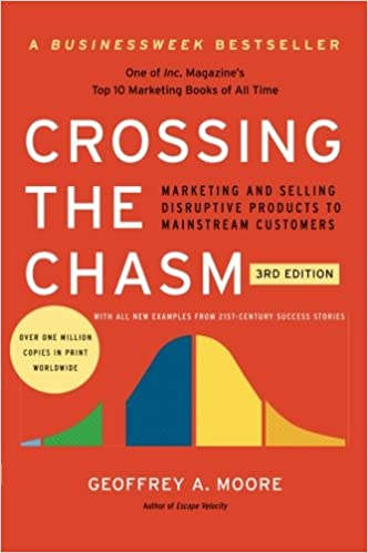 Crossing the Chasm by Geoffrey Moore book cover on the LBS website